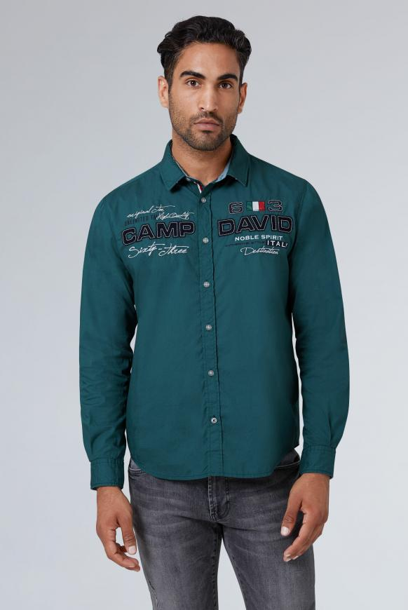 Langarmhemd mit Artworks, Regular Fit columbia green