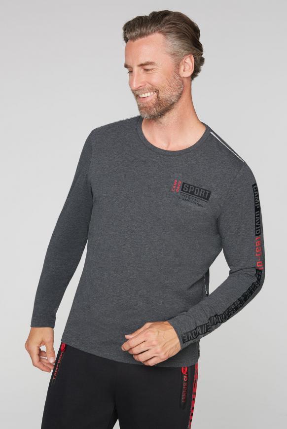 Langarmshirt mit Logo-Applikationen anthra mel