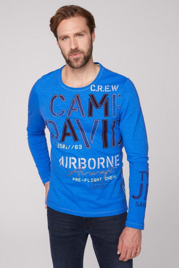 Langarmshirt mit Logo-Applikationen neon blue