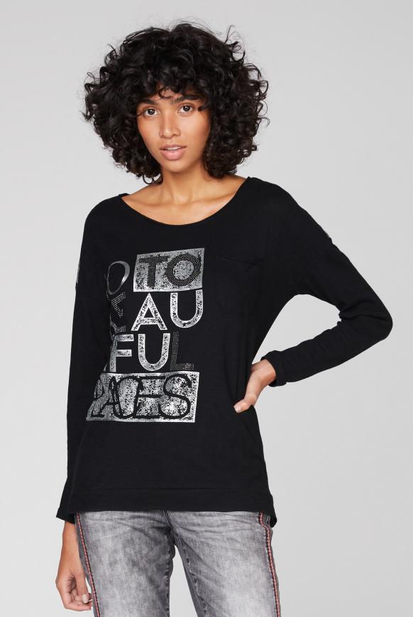 Langarmshirt mit Rubber Prints und Tasche black