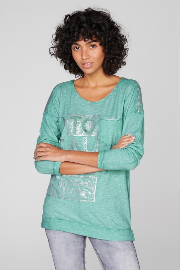 Langarmshirt mit Rubber Prints und Tasche frosty mint