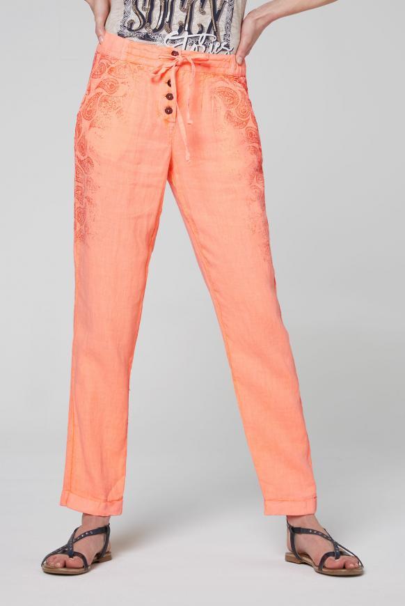 Leinenhose mit Print und Knopfleiste spicy orange