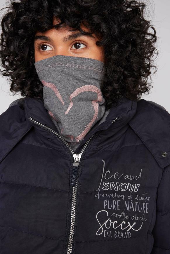 Loop-Schal-Maske mit Artwork dark grey melange