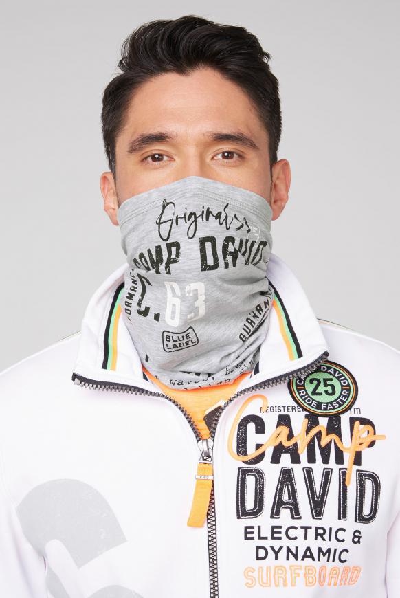 Loop-Schal-Maske mit Used Print grey melange