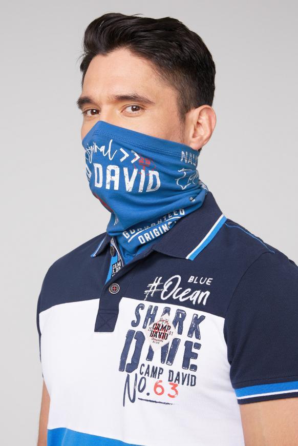 Loop-Schal-Maske mit Used Print coastal blue