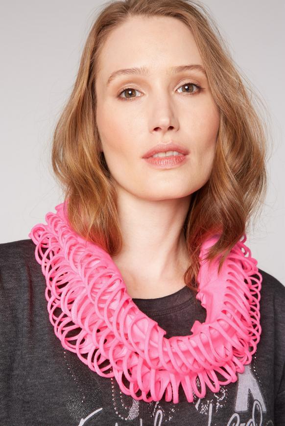 Loop-Schal mit Cut-Outs und Logo Print knockout pink