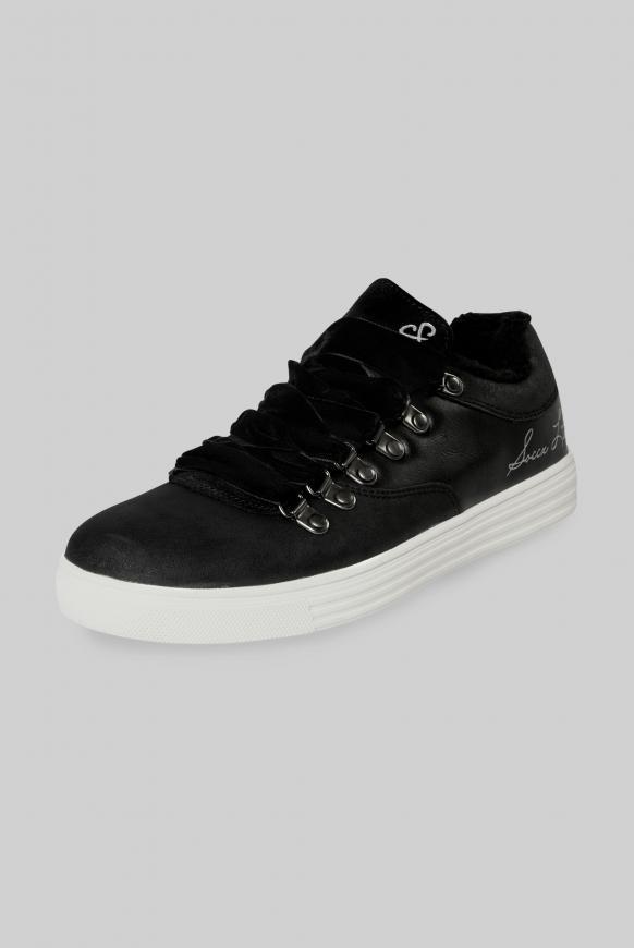Low-Cut Sneaker mit Faux-Fur-Einschlupf black
