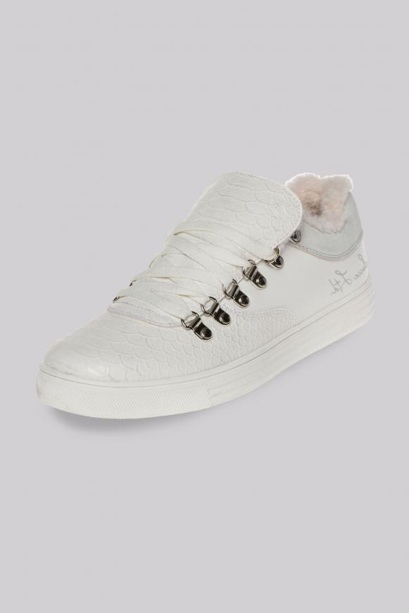 Low-Cut Sneaker mit Faux-Fur-Einschlupf ivory