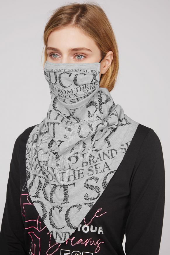 Maske mit Triangle-Tuch und Logo Artwork grey melange