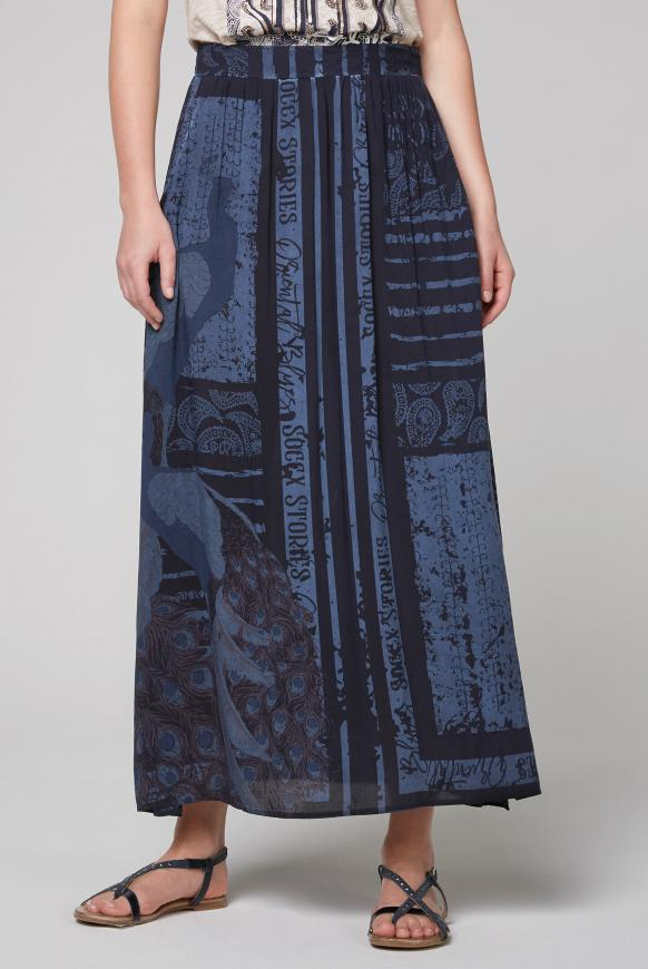 Maxirock mit All Over Print moroccan blue