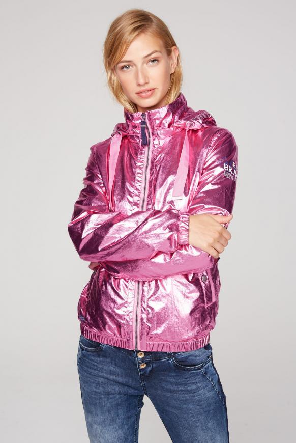 Metallic-Blouson mit abtrennbarer Kapuze pink