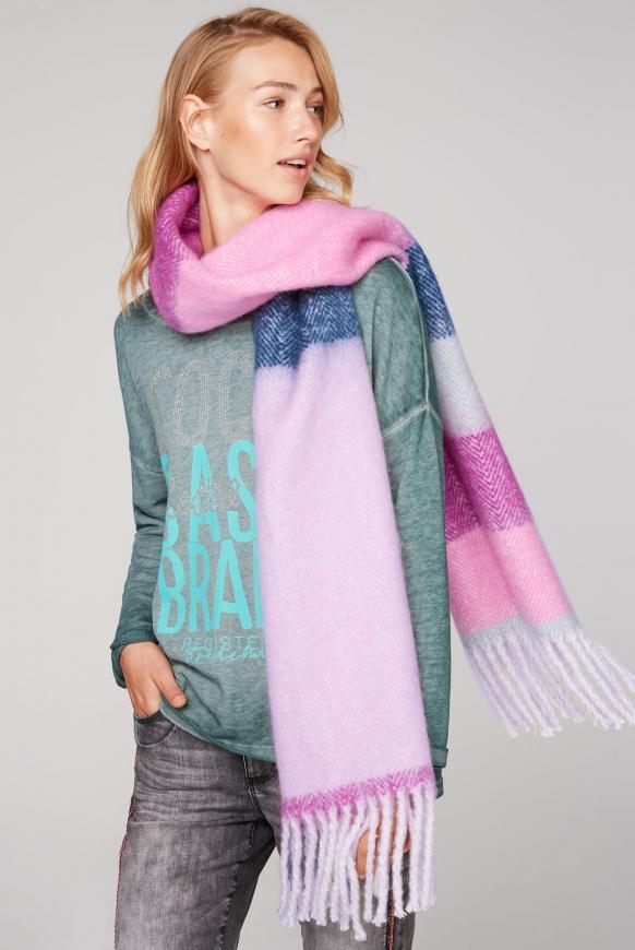 Multicolour Schal mit Fransen multi color