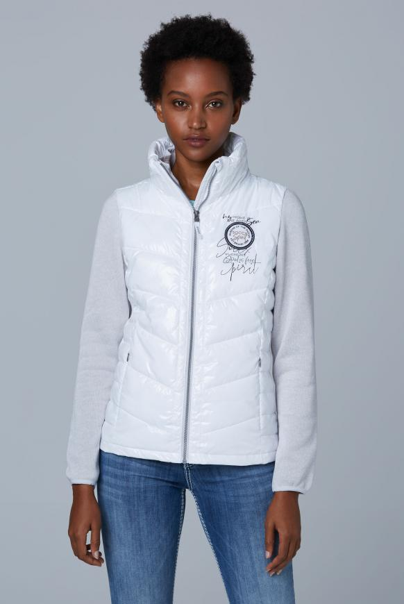 Outdoorjacke im Materialmix opticwhite