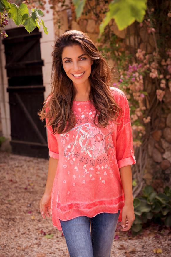 Oversized-Bluse mit Pailletten und Artwork pure coral