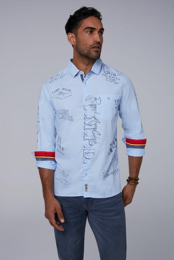 Oxford-Hemd mit vielen Used Prints sky blue