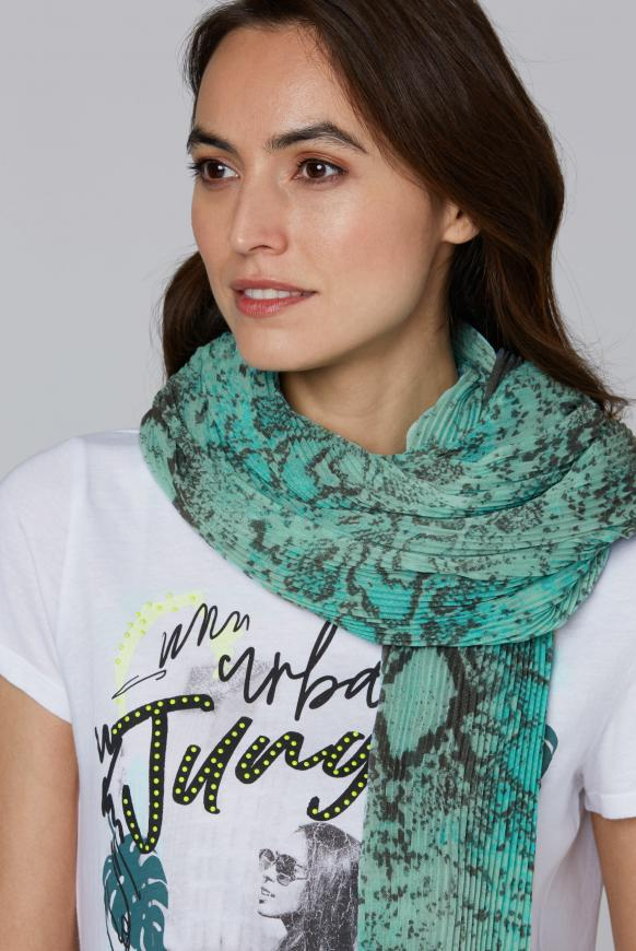 Plissee-Tuch mit Snake Print bright mint