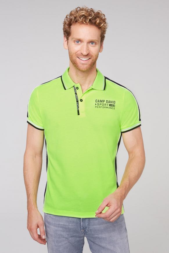 Poloshirt aus Pikee mit Kontraststreifen neon yellow