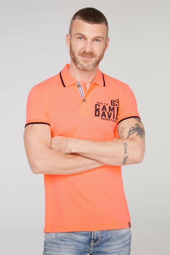 Poloshirt aus Pikee mit Logo Puff Print neon orange