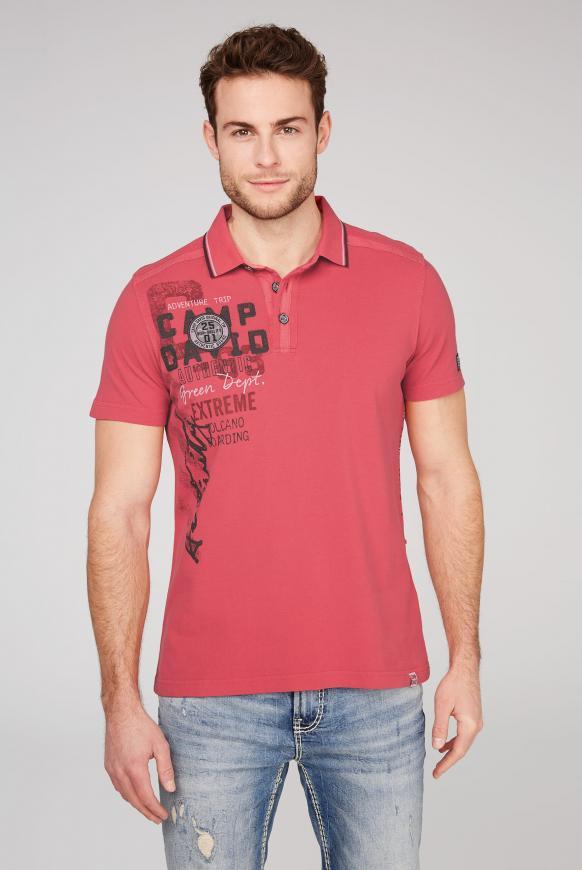 Poloshirt aus Pikee mit Rücken-Artwork powder red
