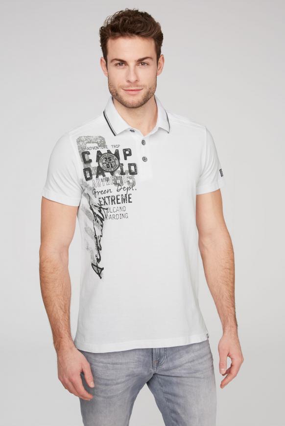 Poloshirt aus Pikee mit Rücken-Artwork offwhite