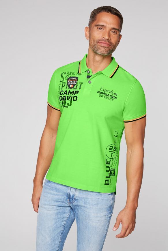 Poloshirt aus Pikee mit vielen Artworks neon green