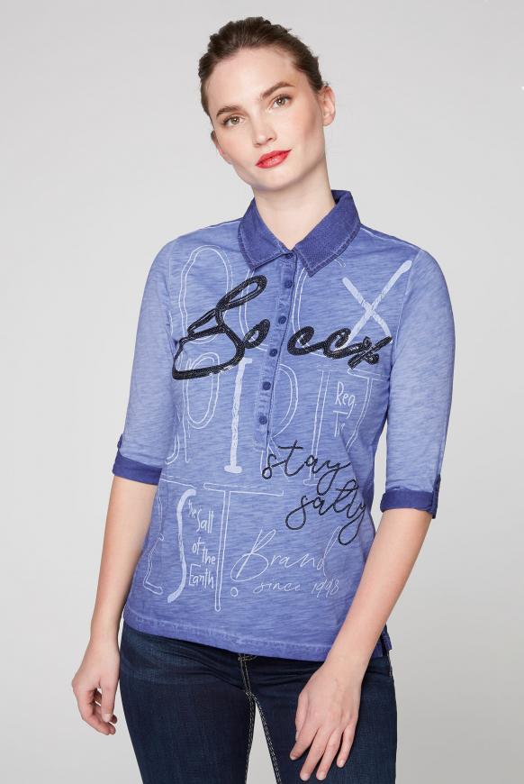 Poloshirt im Materialmix mit Pailletten-Artwork illusion blue