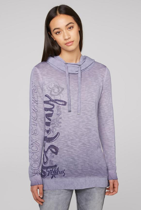Pullover im Materialmix mit Artwork magic violet