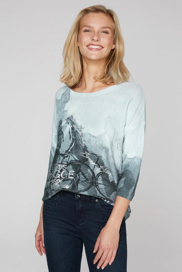 Pullover in Linksstrick mit Print-Artwork iron