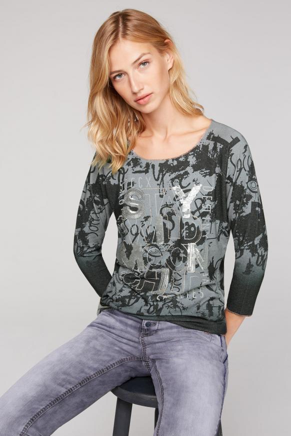 Pullover mit All Over Print und Pailletten grey phantom