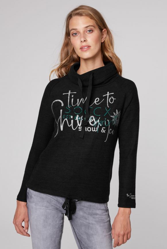 Pullover mit hohem Kragen und Artwork black