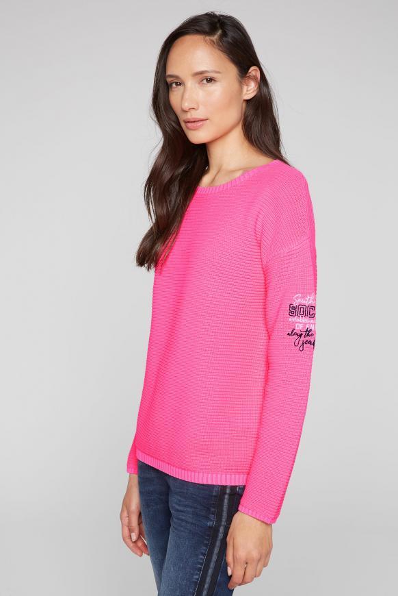Pullover mit Intarsien-Einsatz am Rücken knockout pink