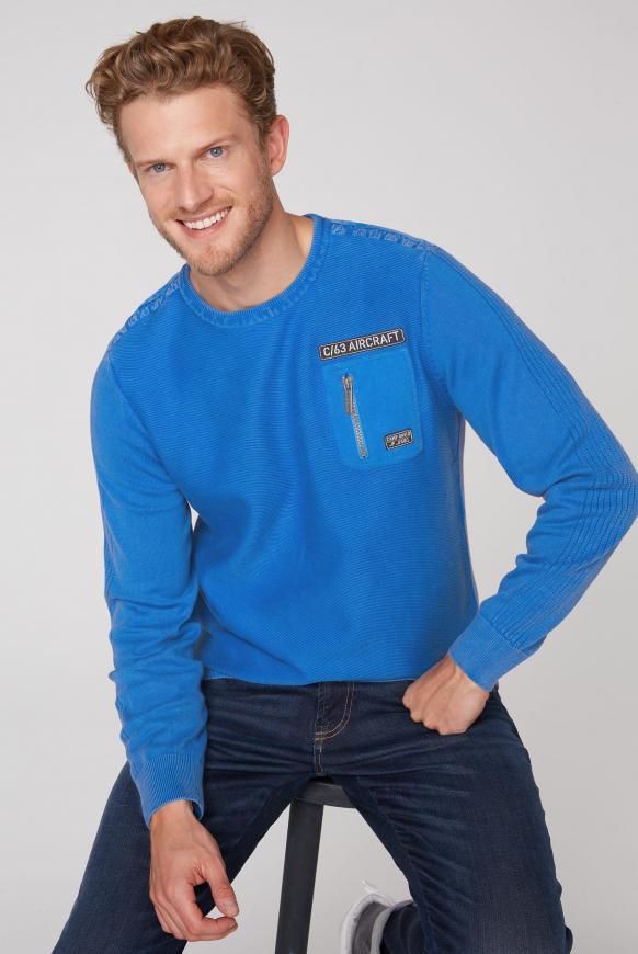 Pullover mit Strickmustern und Tasche neon blue