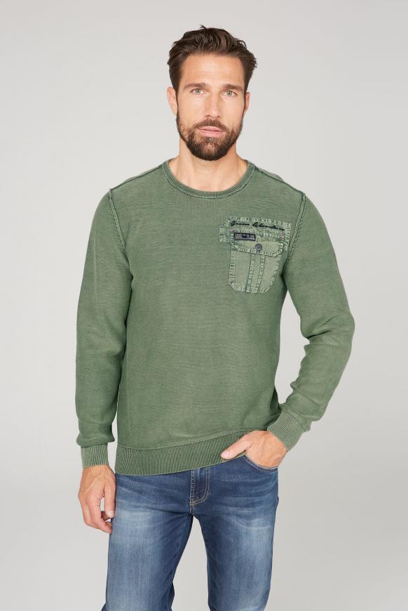 Pullover mit Tasche und Rücken-Artwork pure olive