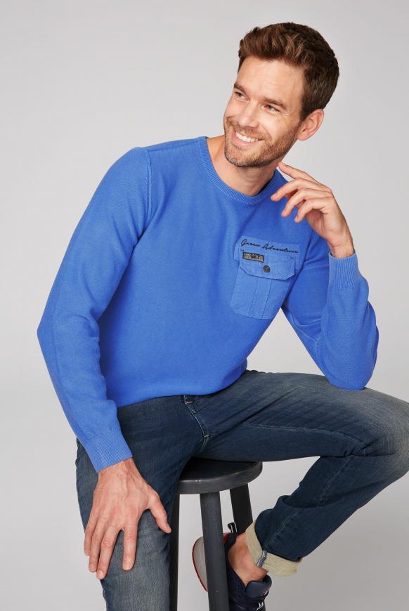 Pullover mit Tasche und Rücken-Artwork blue ice