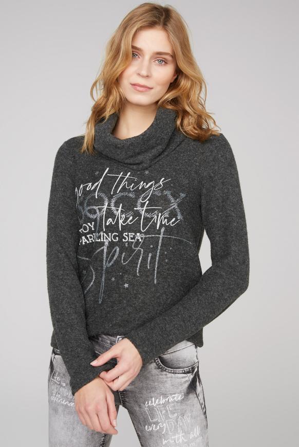Pullover mit weitem Rollkragen und Print black melange