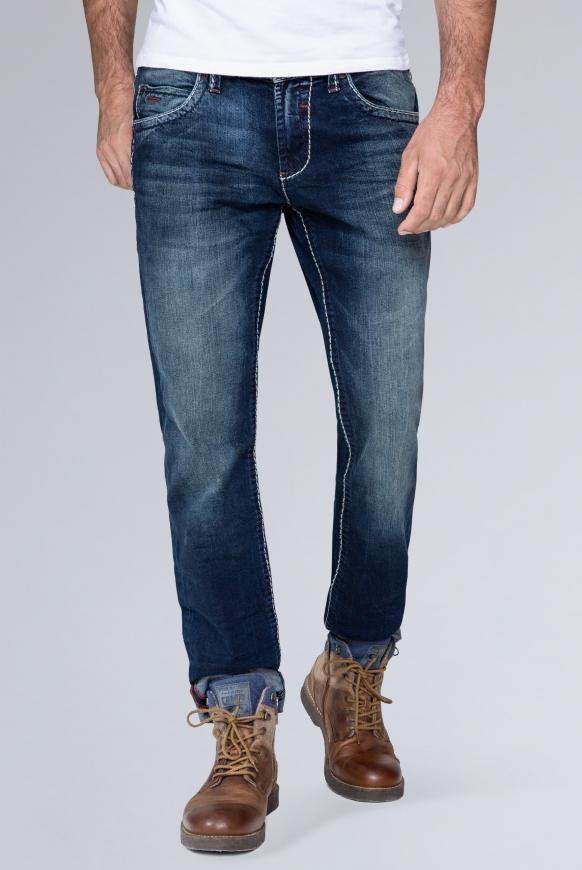 Regular Fit Jeans mit 3-D-Knittereffekten NI:CO dark used