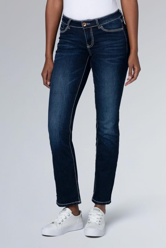 Regular Fit Jeans RO:MY mit Kontrastnähten dark blue