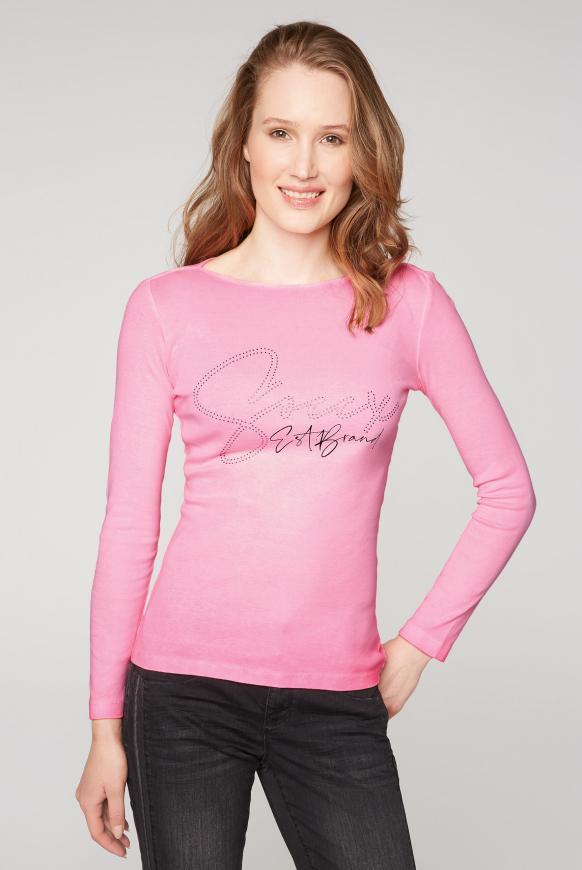 Rippshirt mit U-Boot-Ausschnitt und Logo knockout pink