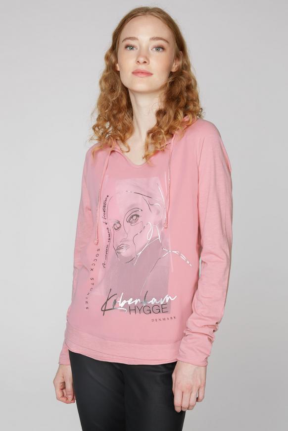 Shirt mit Tüll-Layering und Artwork winter powder