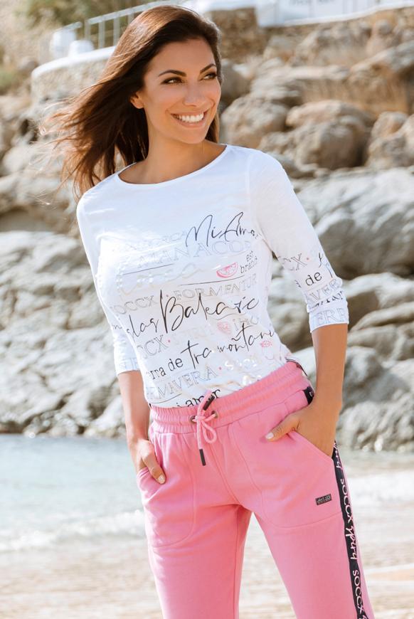 Shirt mit U-Boot-Ausschnitt und Artwork opticwhite
