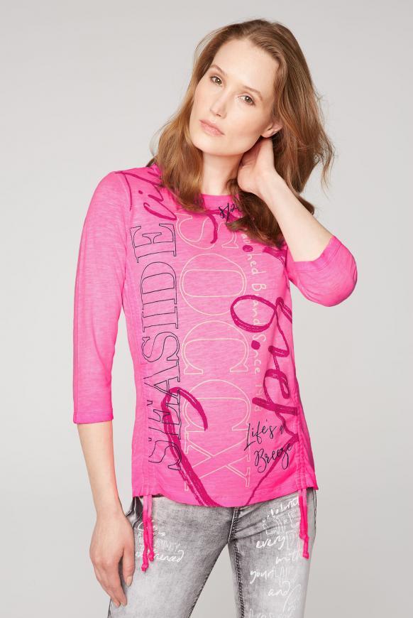 Shirt mit U-Boot-Ausschnitt und Raffungen knockout pink