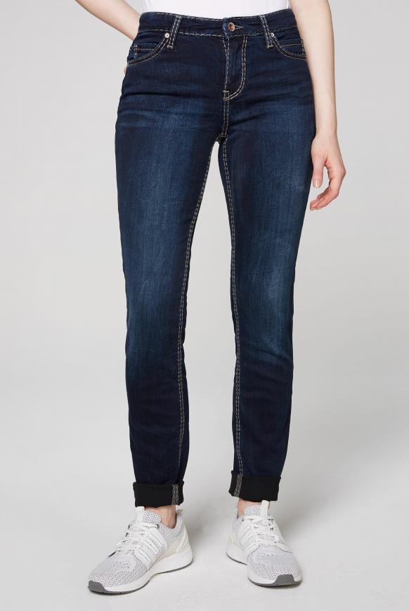 Slim Fit Jeans HE:DI mit Kontrastnähten dark blue