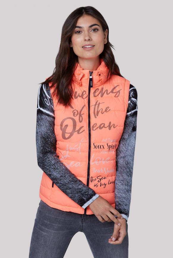 Steppweste mit Print und Kapuzenkragen neon orange