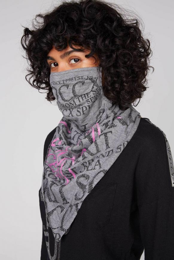 Stoffmaske mit Triangle-Tuch und Logo Design dark grey melange