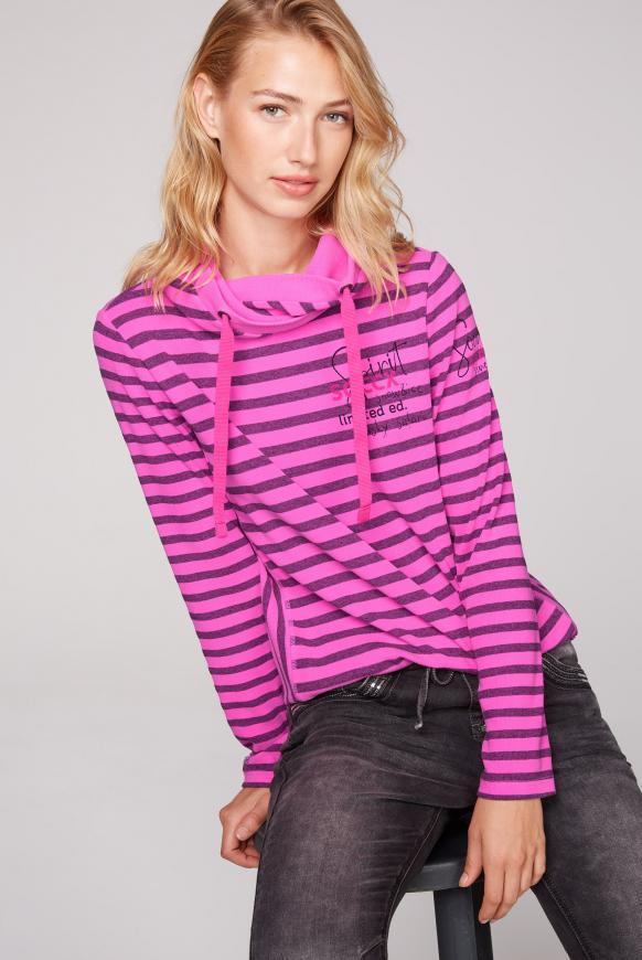 Streifenshirt mit hohem Kragen und Back Print electric magenta