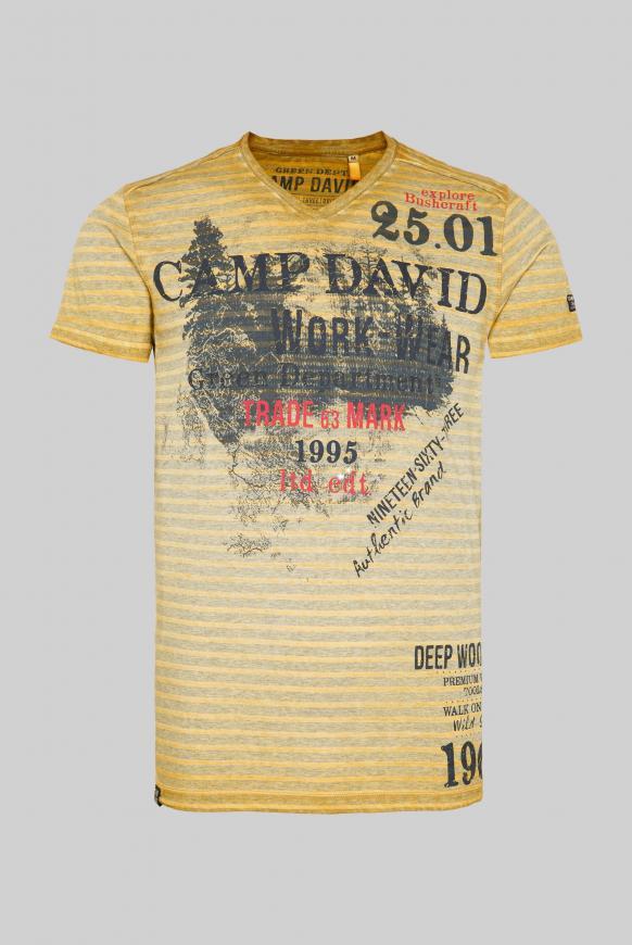Streifenshirt mit V-Neck und Label Prints rising sun