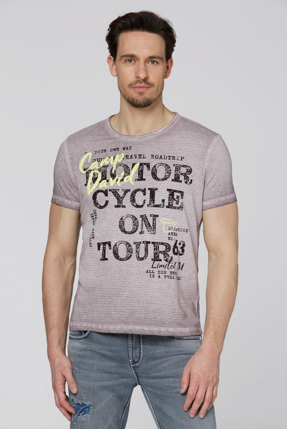 Streifenshirt mit Vintage- und Puff-Print shadow