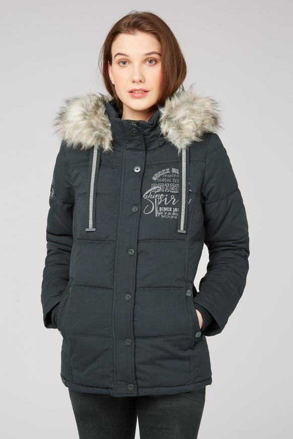 Strukturierte Jacke mit Artwork und Fake Fur black