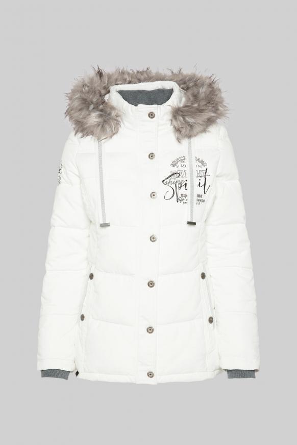 Strukturierte Jacke mit Artwork und Fake Fur ivory