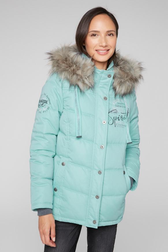 Strukturierte Jacke mit Artwork und Fake Fur frozen aqua